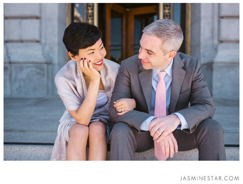 Simple Wedding Dresses For Justice Of The Peace: San Francisco City Hall Elopement : Christine+Paul