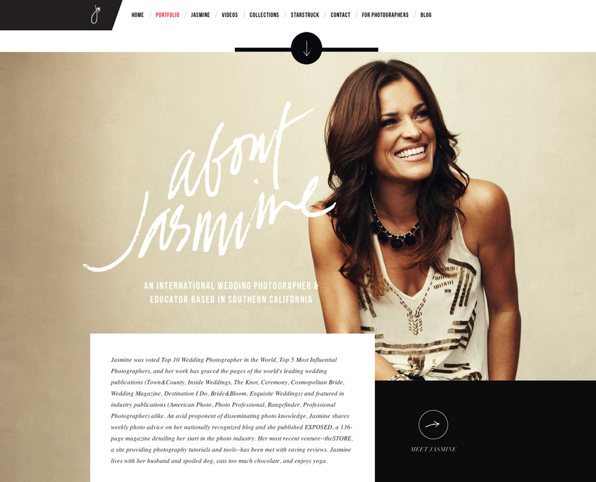 My new website jasmine star for Photography bio template